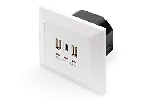 DIGITUS Unterputz USB-Ladegerät - 3 Buchsen (2x USB-A & 1x USB-C) - 5V / 3.1A Gesamt - 250V 50Hz - Weiß, DA-70618