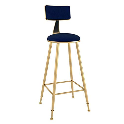 AYU Bar Stool with Gold Legs,Kitchen Counter Stool,Coffee Kitchen Dining Chair, Velvet Cushion Bar Stool,Seat Height 29.5inch,Blue