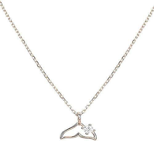 qiangloushui Collar Collar Dolphin Fishtail S925 Plata Temperamento Femenino Oro Rosa Cadena De Clavícula De Circón Simple No Se Desvanece Amor Su Mejor Regalo
