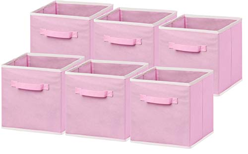 6 Pack - SimpleHouseware Foldable Cloth Storage Cube Basket Bins Organizer, Pink (11' H x 10.75' W x 10.75' D)