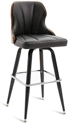 ZfgG barkruk 360° draaibare rugleuning, PU-lederen buitenkant, voetsteun, industriële stoelen voor ontbijtbar, balie, keuken en huis SeatHeight61cm Zwart