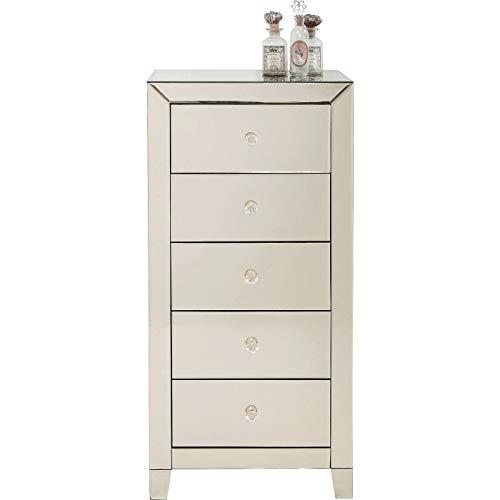 Kare Design Hochkommode Luxury  5 Schübe, Tanne Massivholz, Griffe klar, One Size, Champagner