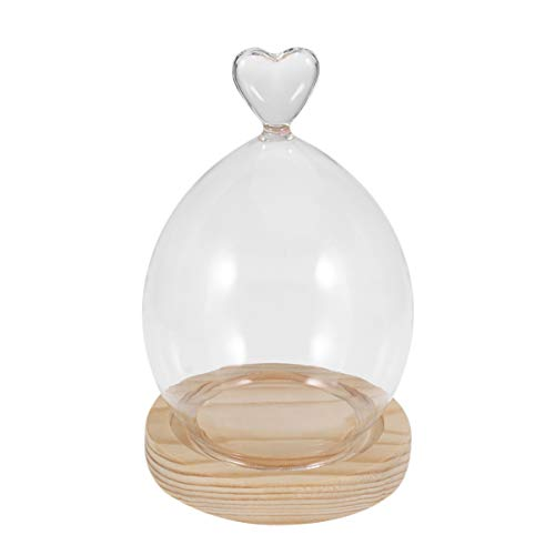 VALICLUD Cúpula de Cristal con Base Flor Preservada Cloche Corazón Estilo Transparente para Siempre Cubierta de Flor Adorno de Cúpula Cúpula Transparente para El Hogar Tienda Tienda