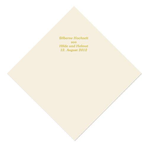 50 champagnerfarbene Servietten mit Ihrem Namen in goldenen Lettern, ca. 33,5 x 33,5 cm, 3-lagig