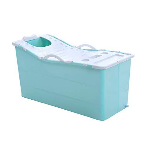 CYLQ Faltbare Erwachsene Badewanne Für Blau,Tragbar Babybadewanne Kinderbecken Haushalt Kunststoff Wanne,Duschabtrennung Badewanne Mit Deckel 117 * 52,5 * 63 cm (Color : Blue)