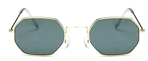 Gafas De Sol Hexagonales para Mujer, Gafas De Sol A La Moda para Hombre Y Mujer, Sin Montura, Lentes Transparentes para El Océano, Gafas De Sol Uv400 con Montura De Metal, Dorado, Verde Oscu