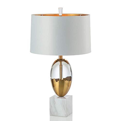 HtapsG Lámpara Escritorio Lámpara de Mesa Decorativa de mármol de Cristal Pantalla de Tela Moderna de Lujo Creativa LED cálida Sala de Estar Dormitorio Escritorio del Hotel Oficina 40 * 40 * 70 cm