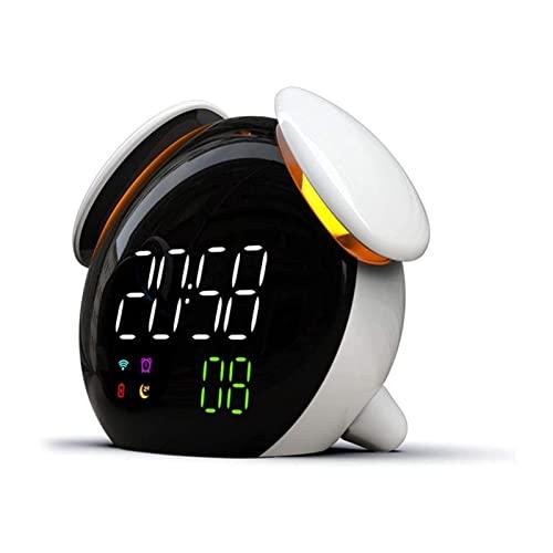 HYK Time to Wake - Sveglia per bambini, per bambini e bambini, sveglia, macchina sonora (colore: nero)(bianco)