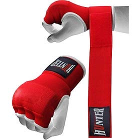 HUNTER Gel Padded Inner Gloves with Hand Wraps for Boxing (Set of 2 Gloves) (Red, L/XL)