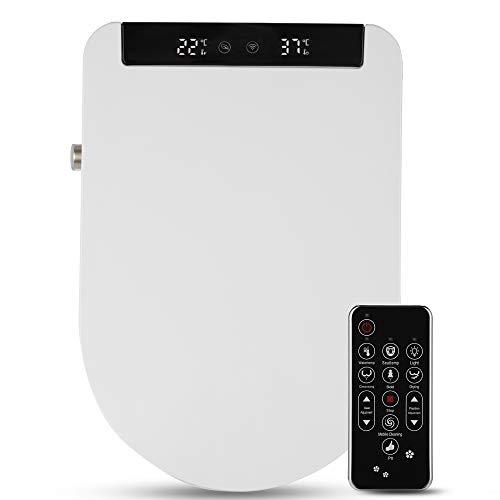 Kacsoo Intelligenter elektrischer Toilettensitz mit Fernbedienung und LED-Anzeige, einstellbarem Warmwasser, Selbstreinigung, Reinigung der hinteren, beheizter Toilettensitz (U-Typ)