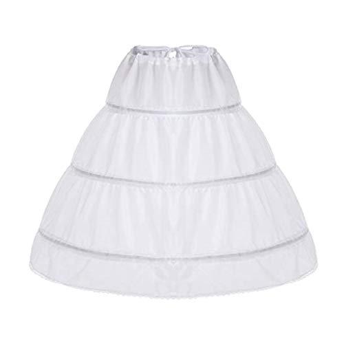 iixpin Kinder Mädchen Crinoline Petticoat A-line Reifrock Vintage Petticoat Unterrock für Blumen Hochzeit Bridal Unterrock Tütü Rock Ballett Rock (One Size, Weiß A)
