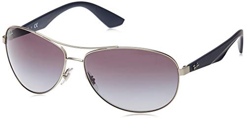 Ray-Ban RB 3526 Occhiali da Sole, Argento (Silver Blue), 63 mm Unisex-Adulto
