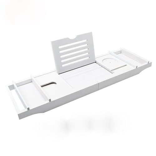 Bandeja de baño de diseño robusto, con soporte de copa de vino, soporte para iPad, etc.suitable para la mayoría de los lugares de baño. Se proporciona caja doble blanca con alfombra de silicona