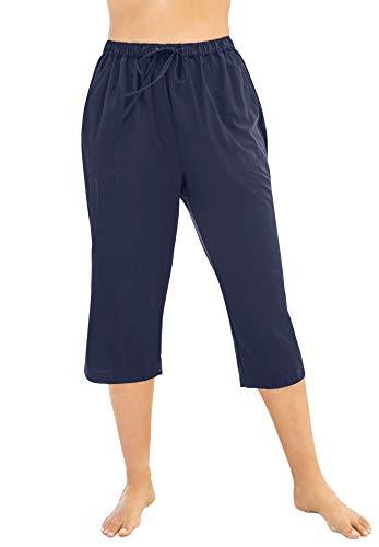 Swimsuits For All Women's Plus Size Taslon&Reg Capri Coverup Pant - 26/28, Navy Blue