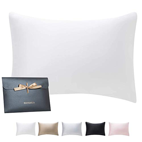 HandSun Silk Pillowcase for Hair and Skin with Gift Package, 100% Natural Mulberry Silk Pillow Covers with Hidden Zipper Queen Size for Christmas