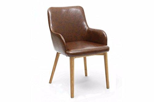 furniturestop.co.uk Sidcup Vintage Leder Match Esszimmerstuhl Brown with Natural Legs