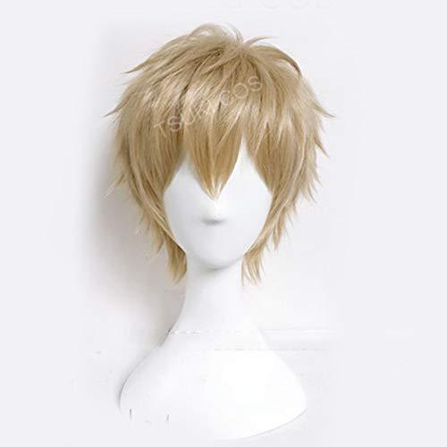 Anime ONE PUNCH-MAN Genos peluca corta Cosplay disfraz pelo sintético resistente al calor pelucas para hombres + gorro de peluca