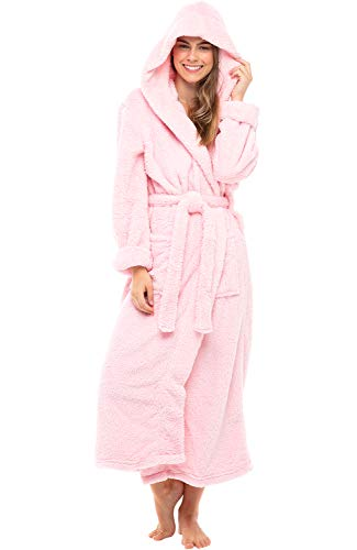Alexander Del Rossa Women's Plush Fleece Robe with Hood, Long Warm Bathrobe, Large XL Pink Rose Quartz (A0304RSQXL)