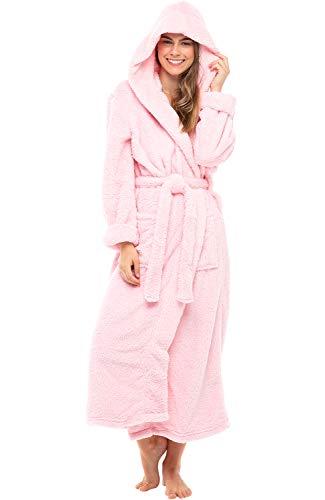 Alexander Del Rossa Women's Plush Fleece Robe with Hood, Long Warm Bathrobe, Small-Medium Pink Rose Quartz (A0304RSQMD)