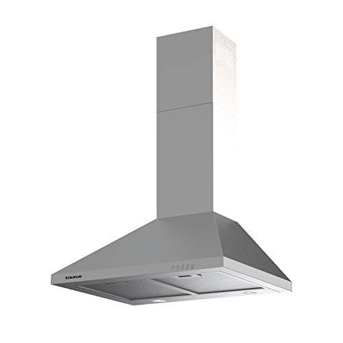 Taurus PR75IXAL - Cappa decorativa in acciaio inox, larghezza 75 cm, 650 m3/h di aspirazione, 3 velocità, comandi meccanici, efficienza A, 200 W, filtri in alluminio lavabili multistrato, LED