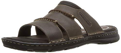 Rockport Men's Darwyn Slide Sandal, Brown Ii Leather, 10.5 W US