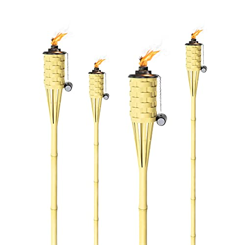 ONETHATCH Synthetic Bamboo Tiki Torches (4pack); Weather-Resistant Large Island Citronella Torch for Outdoor Lighting, Luau, Party, and Garden Decor; Wide-Mouth Canister, Stands 60  Tall
