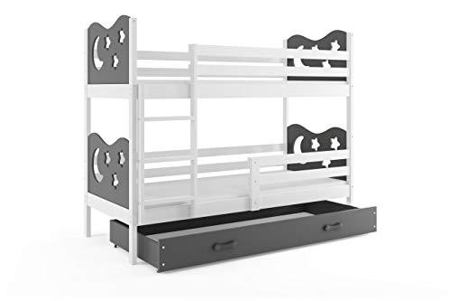 Lit superposé Miko 190x90 avec matelas sommiers et tiroir en blanc (blanc+gris)