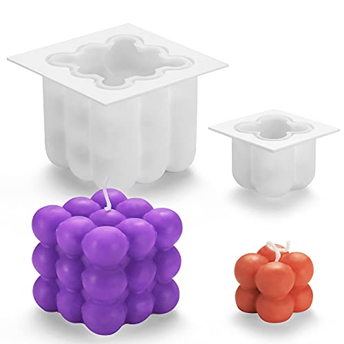 Jzszera 2 moldes de silicona para hacer velas en forma de cubo, para hacer velas en 3D, molde de silicona para manualidades, chocolate 3D, molde de plástico para la fabricación de velas de chocolate