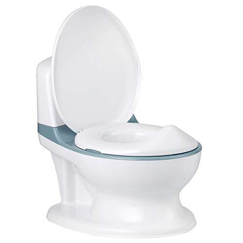 COSTWAY Kindertoilette mit eingebautem Tuchspender, Kinder Töpfchen, Toilettentrainer, Toilettensitz zum Toilettentraining für Kleinkinder von 1 Monaten bis 4 Jahre (Blau)