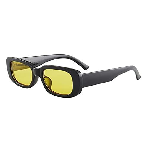 Gobutevphver Gafas de Sol Gafas de Sol Retro Personalizadas Europeas y Americanas de Moda con Montura pequeña polarizadas de Alta definición - Negro + Amarillo