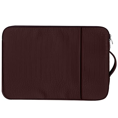 OneGET Funda para portátil compatible con MacBook Pro de 13 a 13,3 pulgadas, MacBook Air, ordenador portátil, bolsa de piel sintética con bolsillo (13 a 13,3 pulgadas, café rojo oscuro)