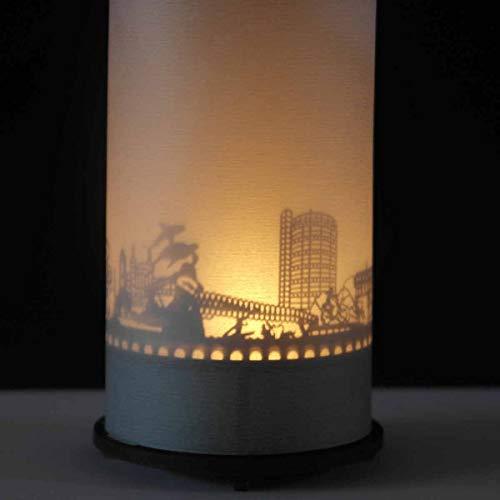 Oberhausen-Skyline Windlicht Schattenspiel Premium Geschenk-Box Souvenir, inkl. Kerzenhalter, Kerze, Projektionsschirm & Teelicht