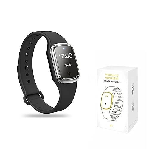 QU.SBEARY Reloj de pulsera ultrasónico repelente de mosquitos con reloj electrónico de carga USB, resistente al agua, portátil, pulsera inteligente antimosquitos (1 paquete, negro)
