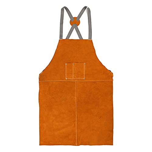 Houseables Leather Blacksmith Apron, Fire Resistant Welding/Welder Smock, 24 x 42 Inch, Large, 2 Pockets, X Strap, Kevlar Stitching, Accessory For Blacksmithing, Carpentry, Torch Work, Roofing