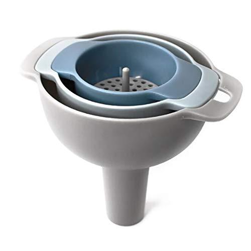 Garispace 4 in 1 Küchentrichterset Mini Kunststoff Trichter Multifunktionale Kochtrichter Set l für die Flaschenablage Parfüm Flüssigkeitstrichter 10 cm / 8 cm / 6 cm
