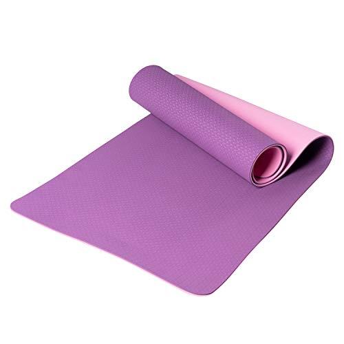 MEWElive - Esterilla de yoga antideslizante con correa de transporte Classic Pro Yoga Mat TPE Eco Friendly - Esterilla de entrenamiento para yoga, pilates y gimnasia, 183 x 61 x 0,6 cm, color azul
