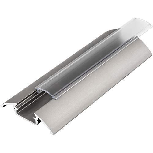 KIT de 6 x 1 mètre P4 Profilé en aluminium ARGENT pour les bandes LED avec couvercles transparents, bouchons et clips de fixation