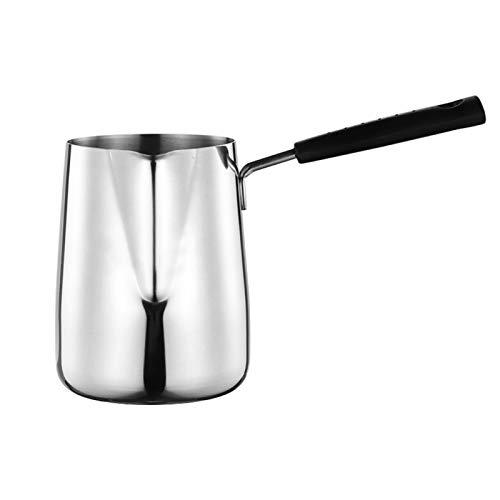 POHOVE Cafetera turca con boquilla para derretir la mantequilla de acero inoxidable, calentador de leche de café, mango largo ergonómico para el hogar, restaurante fácil de preparar