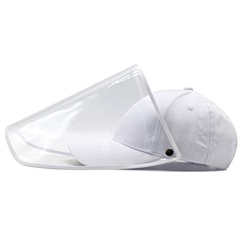 Baseball Cap for Womens Men,Sun Hat with Removable Transparent Cover,Foldable Plain Hat,Summer Bucket Hats,Outdoor Gym Sport Maozi3 White