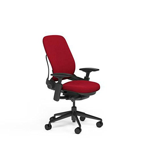 Steelcase Leap V2 Desk Chair in Buzz2 Rouge Red Fabric - 4-Way Highly Adjustable Arms - Black Frame and Base - Soft Dual Wheel Hard Floor Casters