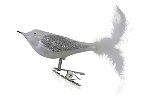 Vögel mit Federschwanz Eislack weiß mit Dekor 3 Stück Christbaumschmuck Weihnachtsbaumschmuck mundgeblasen, handdekoriert Lauschaer Glas das Original