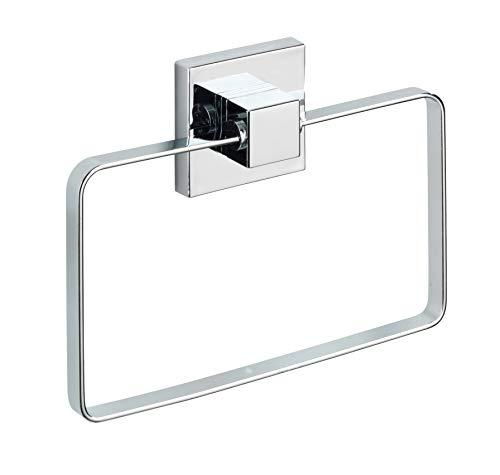 WENKO Vacuum-Loc® Handtuchring Quadro Edelstahl - Handtuchhalter, Handtuchstange, Edelstahl rostfrei, 18.5 x 14 x 3.5 cm, Glänzend