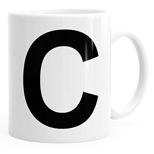 MoonWorks Kaffee-Tasse Buchstaben Buchstabe Arial Bold glänzend Kaffeetasse Teetasse Keramiktasse C weiß Unisize