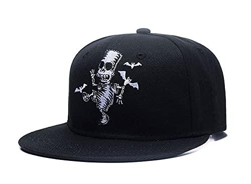 Quanhaigou Skull Zombie and Bats Embroidery Snapback, Unisex Hip Hop Skeleton Adjustable Baseball Cap Fashion Flat Brim Hat Black