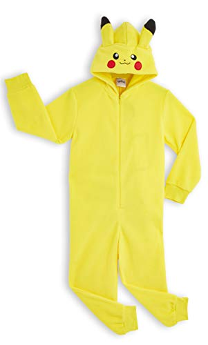 Pokèmon Pikachu Pijama Entero para Niños Niñas De Una Pieza, Cosplay, Pijama Animal Disfraz Go Capucha,Ropa de Dormir Invierno, Regalos para Chicos Chicas 4-14 Años (9-10 años)