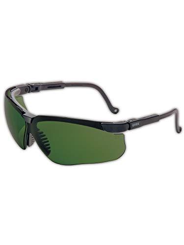 Uvex Genesis veiligheidsbril, zwarte, groene kap 3.0 lens, Infra-Dura