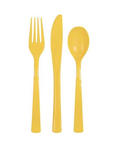Unique Party 39495 Assorted Cutlery, gelb