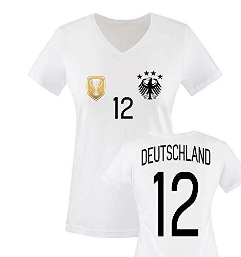 Trikot - Deluxe 2016 - Deutschland - 12 - Damen V-Neck T-Shirt - Weiss/Schwarz-Gold Gr. S