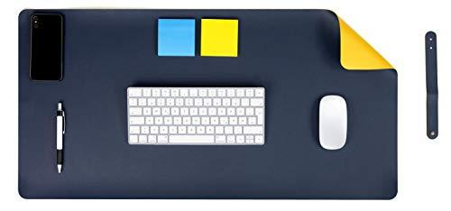 MyGadget Vade Protector de Escritorio en Cuero PU 90 x 45 cm - Alfombrilla Antideslizante en Piel Ecológica para Mesa Gaming Ordenador - Amarillo y Azul
