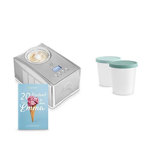 Eismaschine Emma 1,5 L mit selbstkühlendem Kompressor 150 W inkl. Aufbewahrungsbehälter 2er-Set, aus Edelstahl mit entnehmbarem Eisbehälter, inkl. Rezeptheft